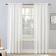 image of Natural Stripe Rod Pocket Sheer Window Curtain Panel