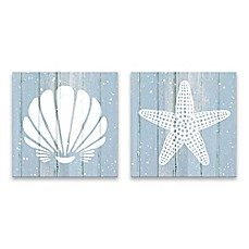 Image Of Coastal Shells 14 Inch Square Printed Canvas Art (Set Of 2)