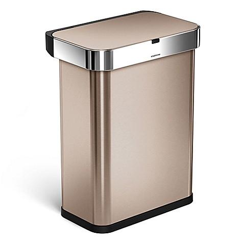 buy simplehuman 58 liter rectangular voice motion sensor trash can in rose gold from bed bath. Black Bedroom Furniture Sets. Home Design Ideas