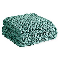 image of Madison Park Chunky Knit Throw Blanket in Aqua