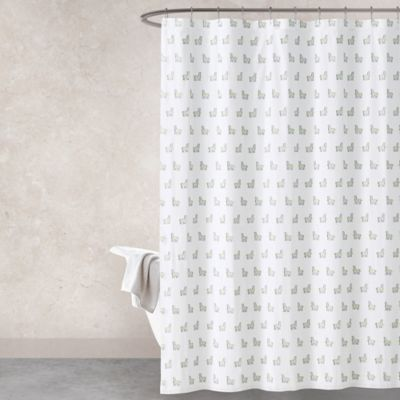 image of Haus & Haven Llama Shower Curtain in Green