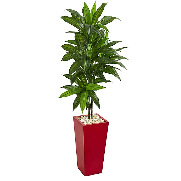 Nearly Natural 5 Foot Real Touch Dracaena In Red Tower Planter Bed Bath Beyond