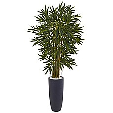 image of Nearly Natural 6.5-Foot Bamboo Tree in Grey Cylinder Planter