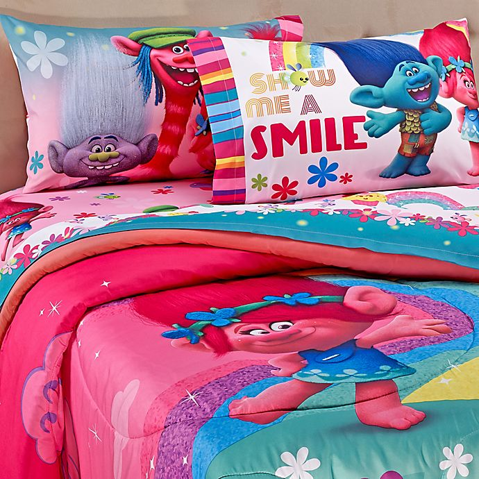 Trolls Show Me A Smile Comforter Set, Trolls Queen Bedding