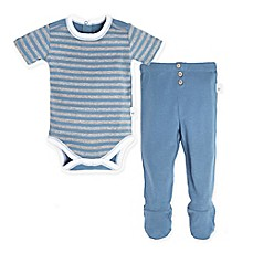 image of Burts Bee's Baby® 2-Piece Stripe Bodysuit and Footed Pant Set in Blue
