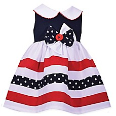 image of Bonnie Baby Stripe and Dot Dress in Navy/Red