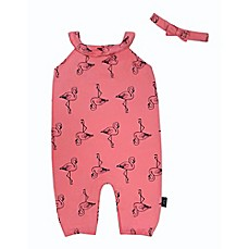 image of Mini Heroes 2-Piece Flamingo Romper and Headband Set in Pink