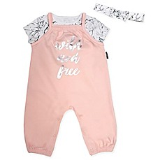 image of Mini Heroes 2-Piece Wild and Free Romper and Headband Set in Pink