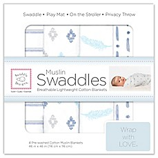 image of SwaddleDesigns® 4-Pack Pre-Washed Cotton Muslin Swaddle Blankets in Denim