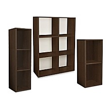 image of Way Basics Tool-Free Assembly Bookcase and Storage Shelf in  Espresso Wood Grain