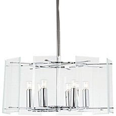image of Minka Lavery® Beacon Trace 6-Light Ceiling Mount Pendant in Chrome with Glass Shade