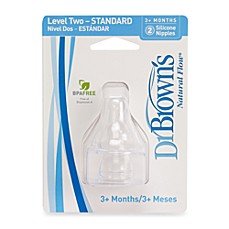 image of Dr. Brown's Natural Flow® Level 2 Silicone Baby Bottle Nipples (2-Pack)