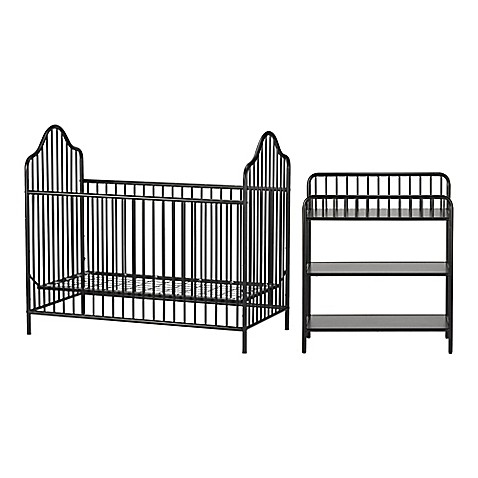 Little Seeds Rowan Valley Lanley 2 Piece Metal Crib And Changing Table Set  In Black