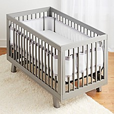 image of BreathableBaby® Ruffled Deluxe Mesh Crib Liner in Grey