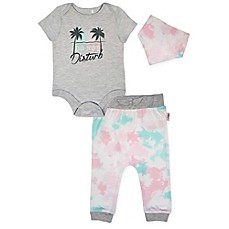 "image of Mini Heroes™ 3-Piece ""Do Not Disturb"" Bodysuit, Pant and Bandana Set in Grey"