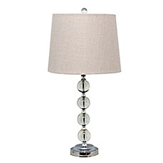Catalina Crystal Stacked Ball Table Lamp With White Shade