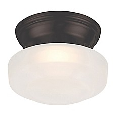 image of Filament Design 6-Inch 1-Light LED Flush Mount Fixture in Mahogany