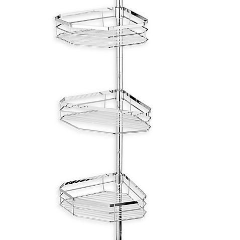 Oversized 3-Tier Pole Shower Caddy in Chromed Steel - Bed Bath & Beyond