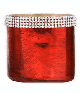 Portavelas tealight de vidrio de mercurio con cuentas en rojo