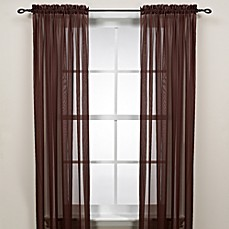 image of Cocoa Rod Pocket Sheer Window Curtain Panel
