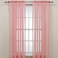 image of Pink Rod Pocket Sheer Window Curtain Panel