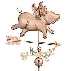 image of Good Directions Flying Pig with Arrow Weathervane in Copper