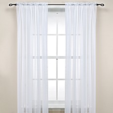 image of Rod Pocket Sheer Window Curtain Panel in White