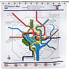image of Washington DC Transit Map PEVA 72-Inch x 72-Inch Shower Curtain
