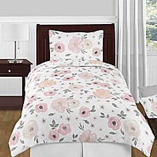 Sweet Jojo Designs Watercolor Floral Bedding Collection In Pink Grey