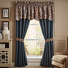 image of Croscill® Brenna 84-Inch Rod Pocket Window Curtain Panel Pair in Navy