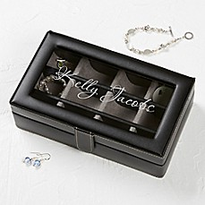 image of For Her Leather 12-Slot Accessory Box in Black