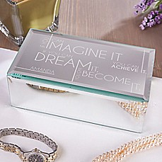 image of Inspiring Messages Engraved Mirrored Jewelry Box