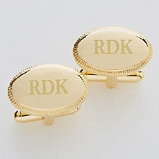 image of Elite Collection Engraved Gold Cufflinks