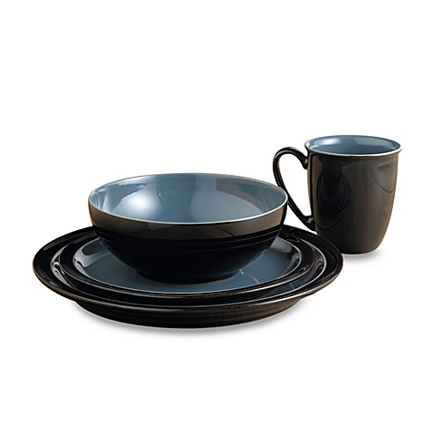 Denby Duets 4-Piece Place Setting in Black/Blue