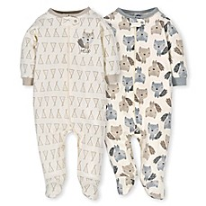 image of Gerber® 2-Pack Teepee Fox Sleep N' Play Footies in Grey/Ivory