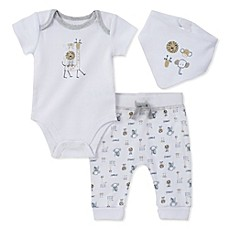 image of Absorba® 3-Piece Animal Bodysuit, Pant, and Bib Set in White