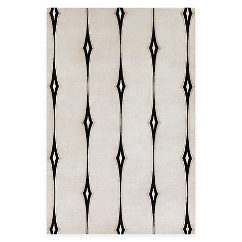 Surya Luminous 9' x 13' Hand Knotted Area Rug in Ivory/Black