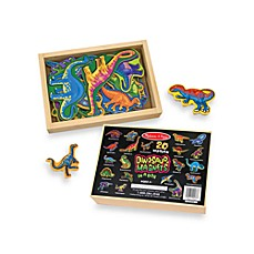 image of Melissa & Doug® 20-Piece Wooden Dinosaur Magnet Set