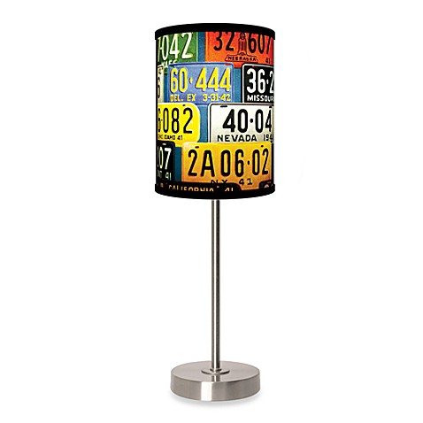 License Plates Table Lamp with Brushed Nickel Base