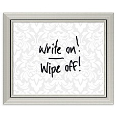 image of Amanti Art Damask Dry Erase Board with Glass Frame in Grey/White