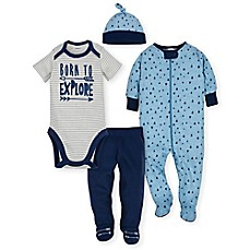 image of Gerber® 4-Piece Explore Bodysuit, Footie, Pant, and Hat Take Me Home Set in Blue