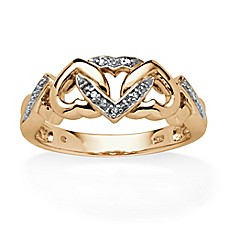 image of Palm Beach Jewelry 18K Gold-Plated .025 cttw Diamond Interlocking Hearts Ring
