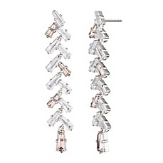 image of Carolee Silvertone Cubic Zirconia Long Linear Drop Earrings