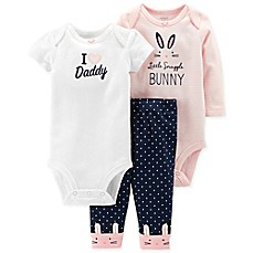 """carter's® 3-Piece """"I ♥ Daddy"""" Bodysuit and Pant Set in Pink"""
