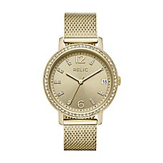 image of Relic® Laurie Ladies' 35mm Mesh Bracelet Watch in Goldtone Stainless Steel