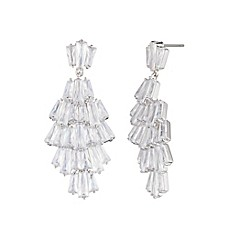 image of Carolee Silvertone Cubic Zirconia Drama Chandelier Earrings