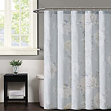image of Christian Siriano Stem Floral Shower Curtain in Grey