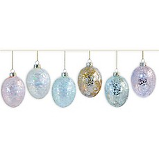 image of Boston International 3-Inch Sparkle and Shine Glass Hanging Egg Ornaments (Set of 6)