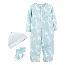 carter's® Preemie 3-Piece Giraffe Converter Gown Set in Blue