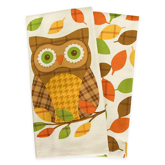 Plaid Owl Kitchen Towels Set Of 2 Bed Bath Beyond